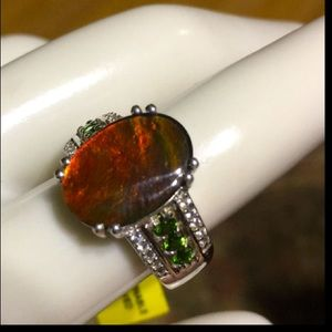 fiery green doublet emerald 925 Ring 7 new